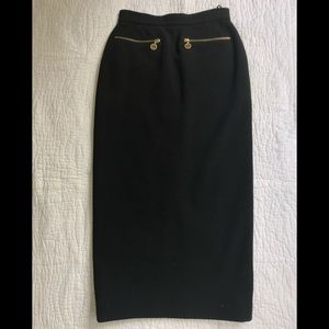 Chanel vintage midi pencil skirt gold logo zippers